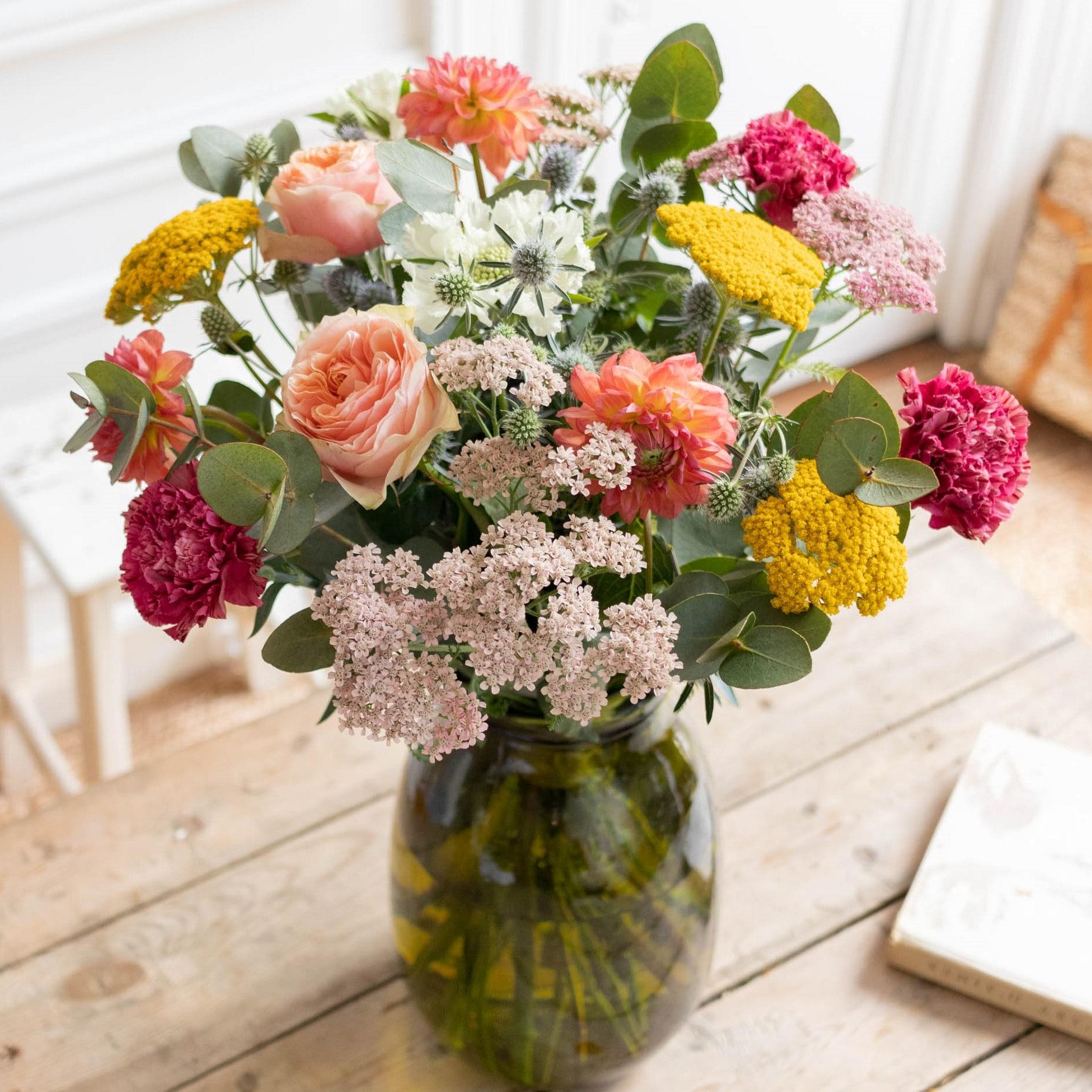 Bouquet Grasse & vase Anyse vert