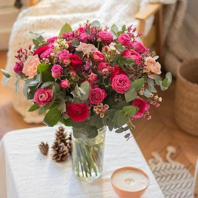 Bouquet Copenhague et vase Le Parfait