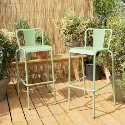 Lot de 2 chaises hautes vertes Lagos