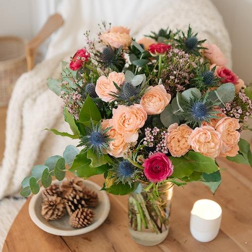Bouquet Grenade + et vase Le Parfait (avec ruban)