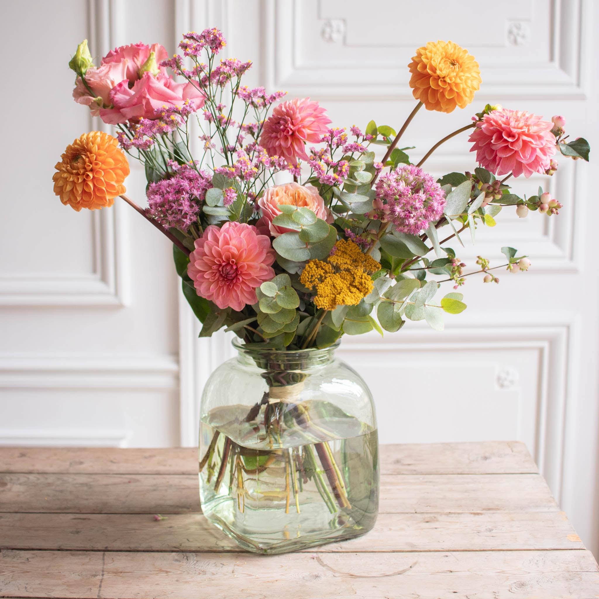 Bouquet Ciutadella & vase Belona vert