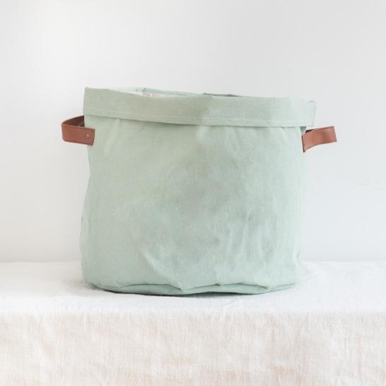 Panier tissu vert avec anses