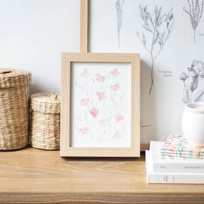 Petit cadre illustré rose pale