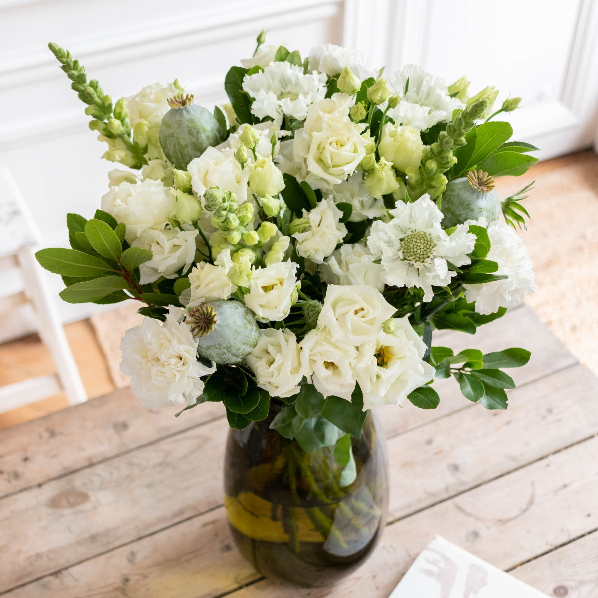 Bouquet Mykonos & vase Anyse vert