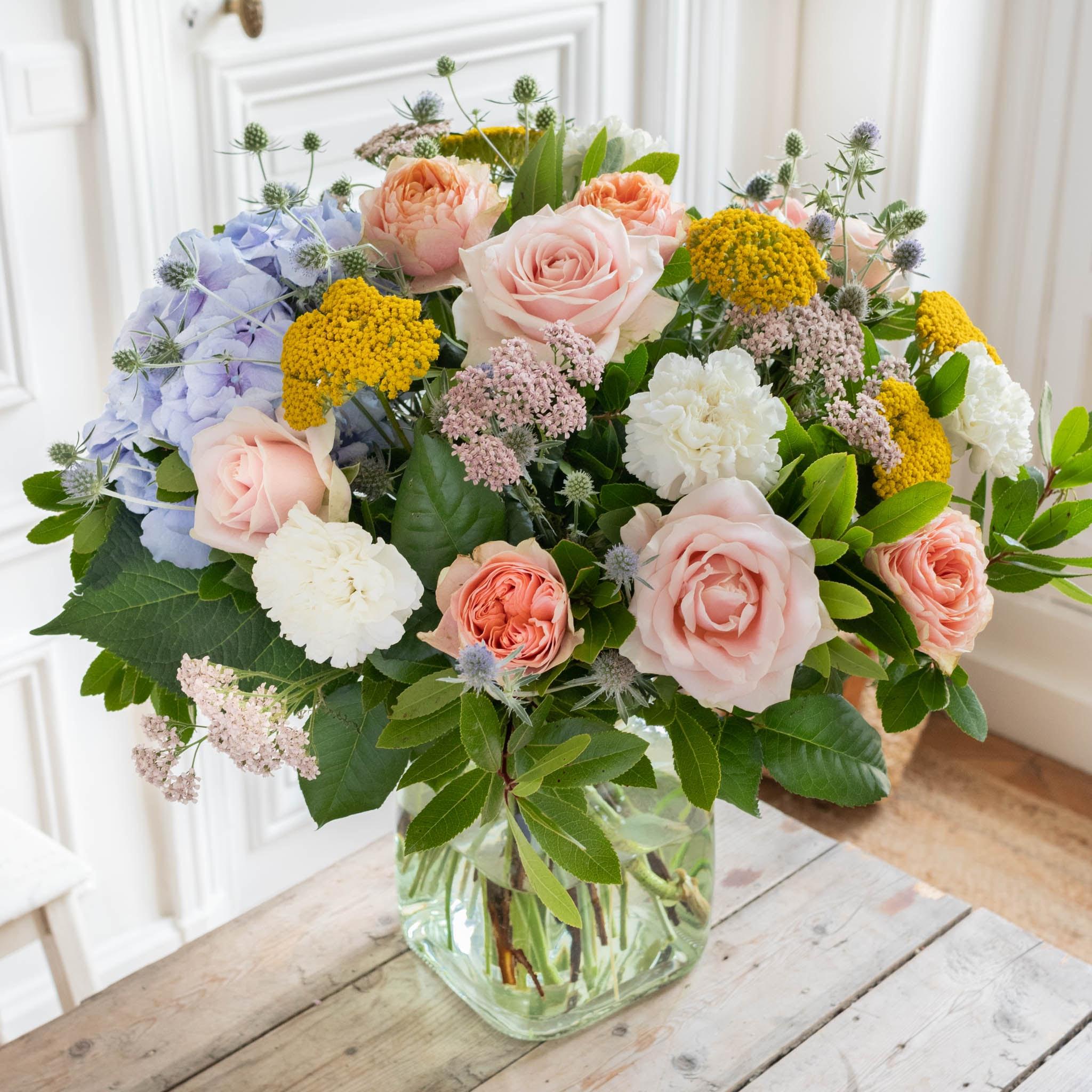 Bouquet Devon & vase Belona vert