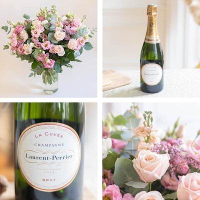 Ajoutez à votre bouquet un vase Le Parfait ou une bouteille de champagne Laurent Perrier